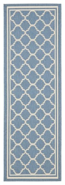 Safavieh Indoor/ Outdoor Courtyard Blue/ Beige Runner Rug (2'3 x 22') contemporary-rugs