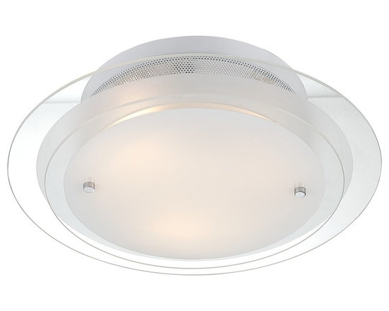"""Possini Euro Design - Possini Two Tier Glass 15 3/4"""" Wide Ceiling Light Fixture - This contemporary semi-flushmount ceiling fixture offers beautiful materials and a spectacular design. Two tiers of glass work together to diffuse the light while creating an eye-catching look. Clear glass is combined with frosted glass. The hardware features a gleaming chrome finish. Chrome hardware. Canopy is white. Clear and frosted glass. Takes three 60 watt bulbs (not included). 15 3/4"""" wide. 4 1/2"""" high.  Chrome finish hardware.   Clear and frosted glass.   Round ceiling light shape.  By Possini Euro Design.  Takes three 60 watt bulbs (not included).   15 3/4"""" wide.   4 1/2"""" high.  Canopy 10"""" diameter.   White Canopy."""
