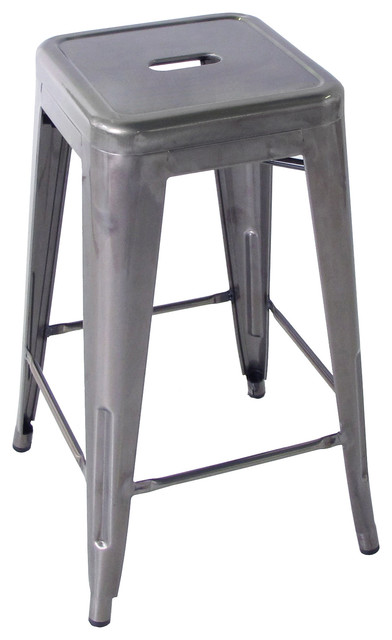 Bouchon French Industrial Steel Backless Cafe Bar Stool