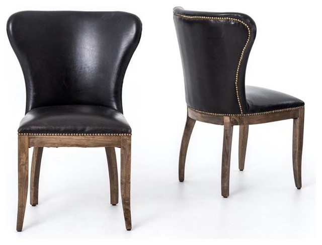 Richmond Dining Chair, Old Saddle Black/Weathered Oak transitional-dining-chairs