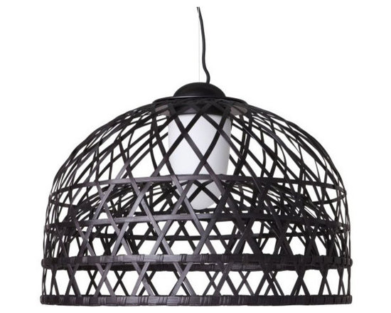 Moooi - Emperor Suspension - Emperor collection resembles the hand woven bamboo cage in the Imperial Chambers. Features a bamboo rattan cage in red or black and includes glass diffuser that creates a warm glow of light. Each cage is woven by hand and therefore has a unique character. Features chrome canopy and 156 inch black textile cable length. Medium: One 26 watt, 120 volt GU24 base compact fluorescent bulb is included. Large: Two 36 watt, 120 volt, T5/2G11 base compact fluorescent lamps are included. General light distribution. UL listed. Medium: 39.4 inch width x 28.7 inch height. Large: 63 inch diameter x 45.3 inch height.