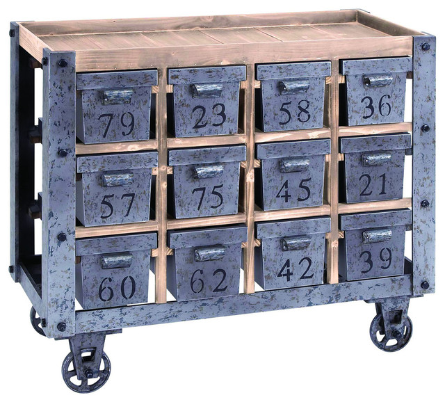 Industrial Portable Storage : Portable storage cart with numbered drawers industrial