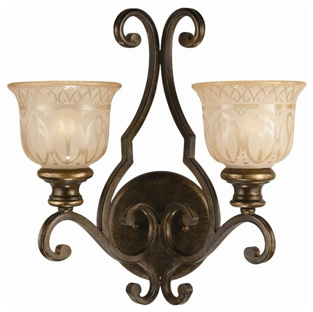 2-Lights Wrought Iron Wall Sconce with Amber Glass Pattern - Contemporary - Wall Lighting - by ...