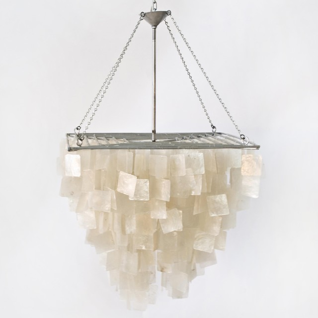 Worlds Away Capiz Shell Square Chandelier contemporary-chandeliers