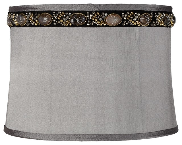 Gray Faux Marble Trim Drum Lamp Shade 13x14x10 (Spider) contemporary-lamp-shades