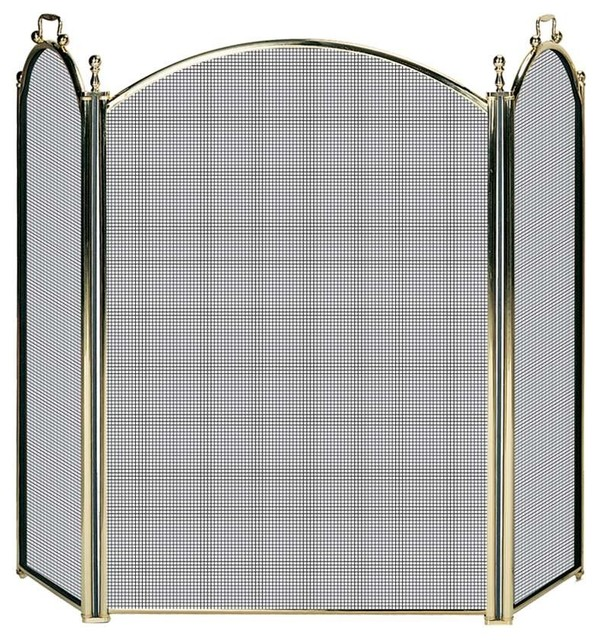 Uniflame 3 Fold Solid Brass Premium Screen Transitional