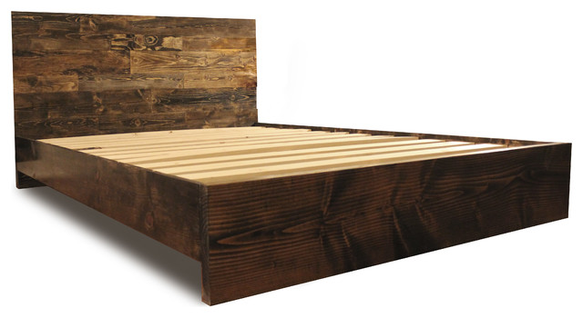 Platform Bed Frame and Headboard Set, Dark Walnut, California King ...
