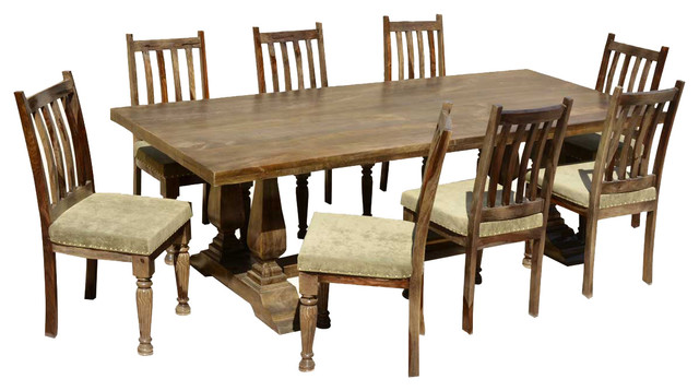 Farmhouse Wood Trestle Dining Table & Upholstered Chairs Farmhouse Di