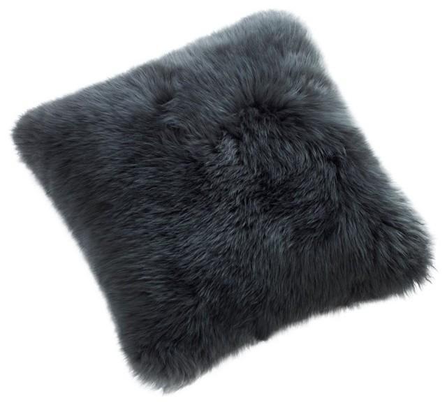 "24"" Square Sheepskin Pillow, Steel contemporary-decorative-pillows"