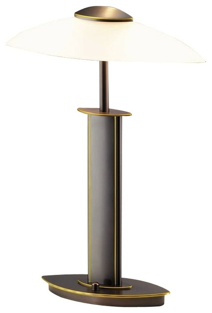 Holtkoetter Old Bronze and Satin White Glass Lamp contemporary-table-lamps