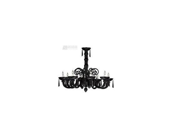 Cyan Design Clemente Black Murano Style Glass Chandelier - CN-6498-8-14 - Cyan Design Clemente Black Murano Style Glass Chandelier - CN-6498-8-14