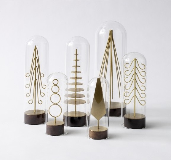Modern brass forest tree set modern holiday accents for Modern christmas decorations online