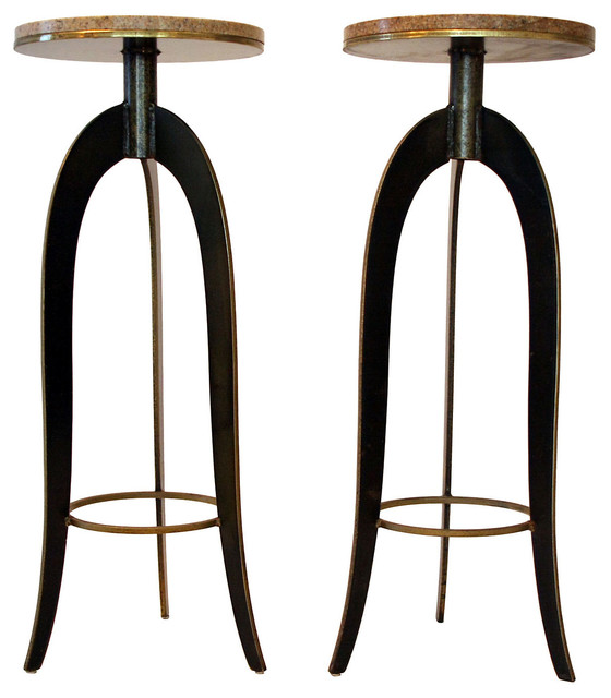 Brass Granite Plant Stands Pair Contemporary Indoor
