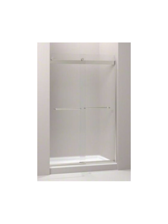 """Kohler - Kohler K-706014-D3-MX Matte Nickel Levity Levity 74"""" x 48"""" Frosted - Product Features:  Covered under Kohler one year limited warranty Constructed of durable 1/4"""" thick tempered frosted glass Frameless design gives a modern, sleek look to the shower Sliding shower door operation acts as a space saver for smaller bathrooms Innovative roller design simplifies installation Cushioned center guide provides quiet sliding action Door is treated with CleanCoat glass treatment to make cleaning easier Towel bars inside and out makes it easy to reach your bath towel afer bathing  Product Specifications:  Overall Height: 74"""" (measured from bottom to top of door fixture) Overall Width: 47-5/8"""" (measured from left to right of door fixture) Maximum Door Opening: 21-5/8"""" Glass Thickness: 1/4"""" Number of Panels: 2"""