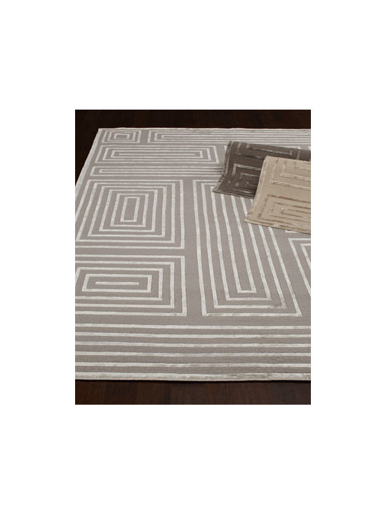 "Exquisite Rugs - Exquisite Rugs ""Silly Quads"" Rug - A dazzling play of geometric lines, raised in viscose, combines with plush pile for a rug that adds shimmer and texture to the room. Select color when ordering. Hand knotted of wool and viscose. Cotton backing. Sizes are approximate. Imported. ...."