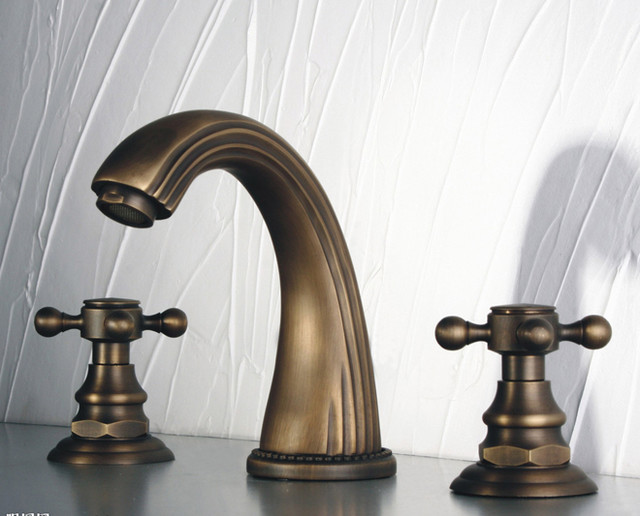 Antique Brass Widespread Bathroom Faucet With Cross Handles FG53 - Traditional - Bathroom ...