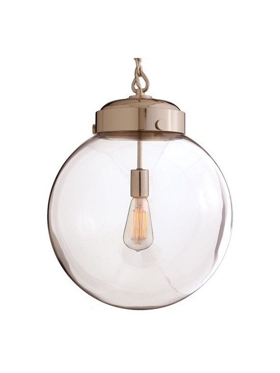 Arteriors Reeves Large Polished Nickel/Glass Pendant - Reeves Large Polished Nickel|Glass Pendant