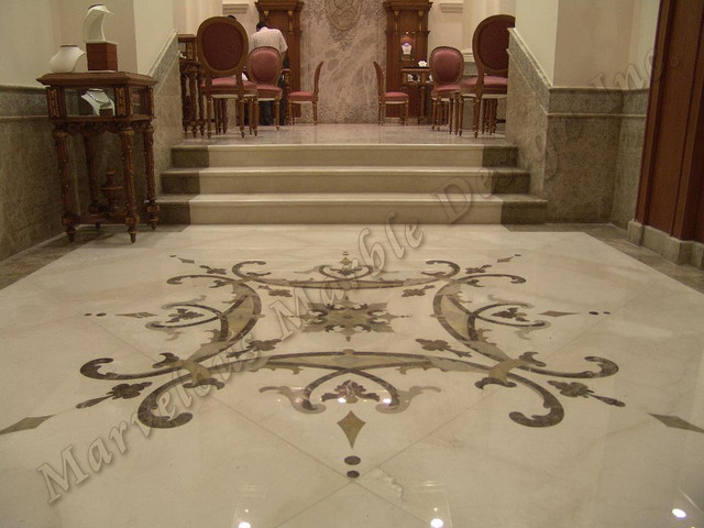 Custom marble floor design traditional for Custom floor design