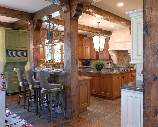 South Shore Club, Lake Geneva, WI - Kitchen & Breakfast, featuring Victorian Collection Custom Hand-scraped & Distressed Vintage French Oak floors