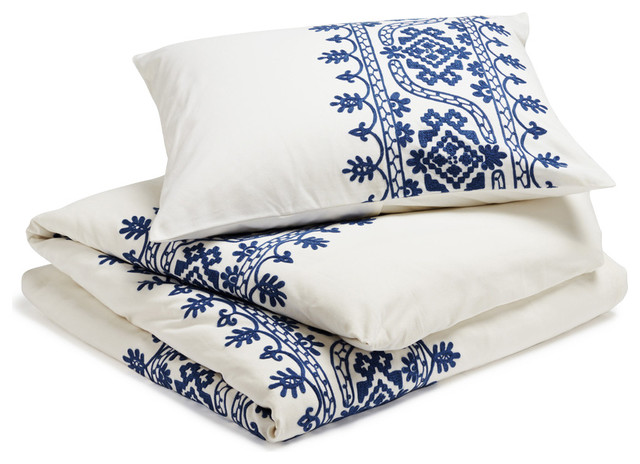 Aari Embroidered Duvet Cover, White with Royal Blue, King mediterranean-duvet-covers-and-duvet-sets