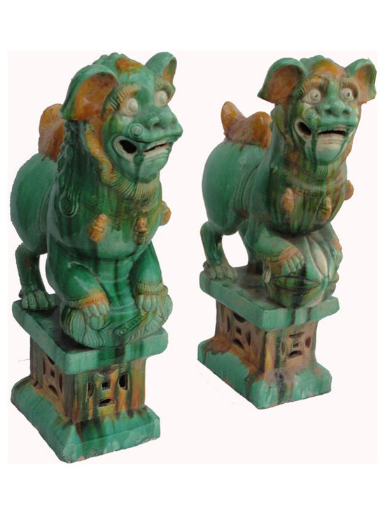 Golden Lotus - Unique Pair Chinese Green Porcelain Hand Carving FenShui Foo Dog - This is a beautiful pair of porcelain foo dog. The male foo dog has an embroidered ball under its paw and the female has a baby foo dog. Their bases have Chinese old money symbol carved on the front and sides, it represents good luck and fortune.