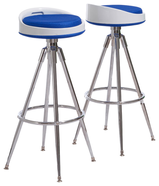 Rendezvous Blue Swivel Barstool (Set of 2) modern-bar-stools-and-counter-stools