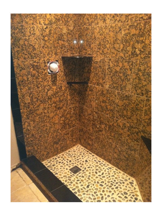 Stone Compliments Absolute Black Granite shower shelves, trims, and towel bar -