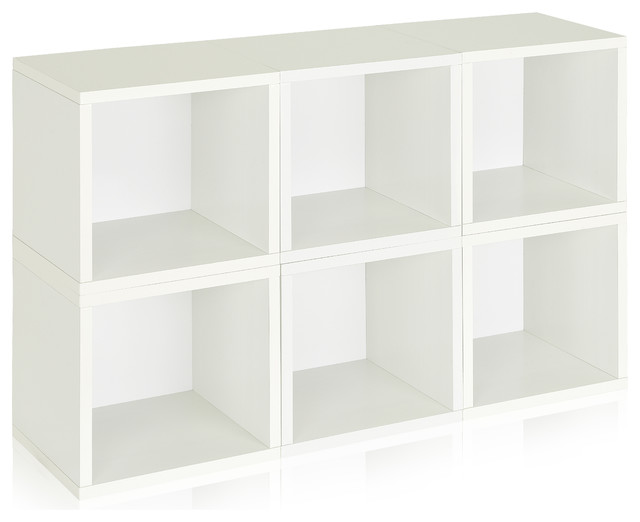 Way Basics 6 Box Storage Cube Stackable White Modern Storage Units
