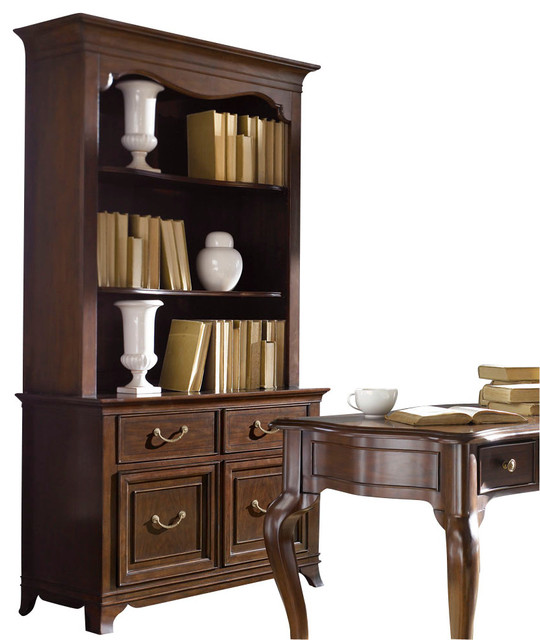 American Drew Cherry Grove NG Bookcase with Hutch in Mid Tone Brown traditional-bookcases