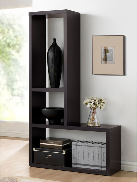 Baxton studio rupal brown modern display shelf for Contemporary display shelves