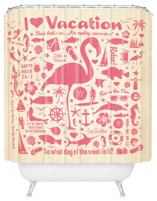 Anderson Design Group Flamingo Pattern Shower Curtain eclectic-shower-curtains