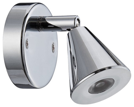 """Eurofase - LED 4 1/2"""" Wide Adjustable Chrome Picture Light - This compact adjustable picture light adds great style to your home. Illuminate artwork books or other treasured objects with this chrome finish mini spotlight. This 4 1/2-inch design includes a frosted plastic accent and optic lens with full metal construction. Fully adjustable to customize the light effect for your wall. Chrome finish mini-spot style picture light. Frosted plastic accent. Fully adjustable flexible arm. Includes one 1 watt LED. 3500K color temperature.8 watt driver sold separately(2P189). 4 1/2"""" wide. 2 1/4"""" high.  Chrome finish mini-spot style picture light.  Frosted plastic accent.  Fully adjustable flexible arm.  Includes one 1 watt LED.  3500K color temperature.  Wall mounted design.  4 1/2"""" wide.  2 1/4"""" high.  1-8 watt driver is required to operate fixture driver is sold separately sku(2P189)  Can use up to 8 fixtures per driver."""