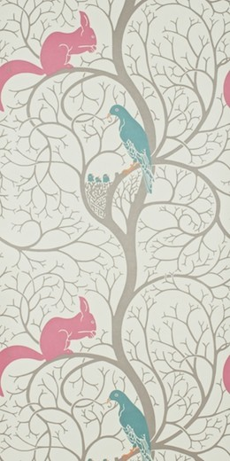 Squirrel & Dove Wallpaper by Sanderson contemporary wallpaper