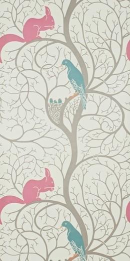 Squirrel & Dove Wallpaper by Sanderson contemporary-wallpaper