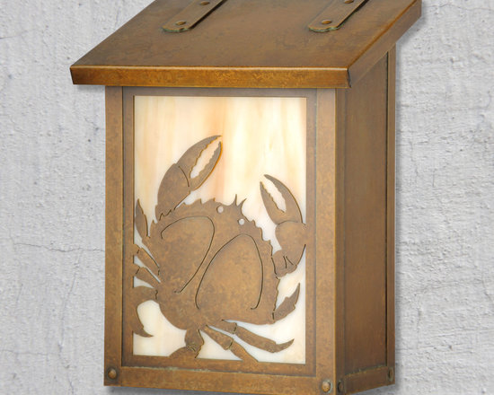 """Crab Vertical Wall Mounted Mailbox - Although you don't want mail when you are at your Coastal Cottage, this whimsical crab mailbox is still a great place to have it delivered. Handmade of solid brass the Coastal Cottage vertical mailbox is perfect for mounting in a narrow space. It has a hand applied patina finish and a traditional hinge detail on the lid. Inside the mailbox lid is a rubber bumper to eliminate any noise when closing. Easy to mount and a wonderful addition to your front porch this """"Crab"""" mailbox design will be a delight for years to come. As with all America's Finest products it carries our lifetime warranty."""