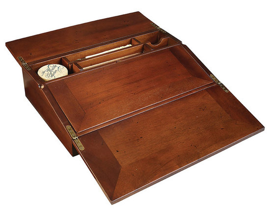 """Inviting Home - Campaign Lap Desk - Campaign lap desk; 16""""W x 4""""H x 10""""D; Campaign lap desk with calligraphy writing set. Campaign lap desk set includes wood styluses brass nibs and black ink for inkwells;"""