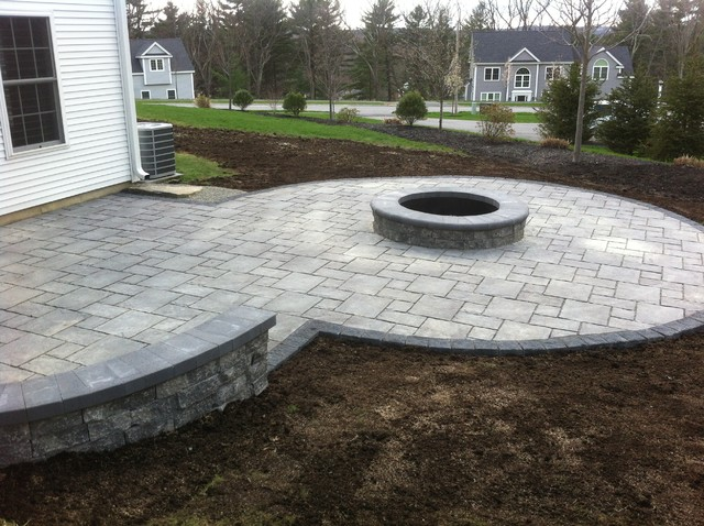 Unilock Thornbury Permeable Paver Installation With Fire Pit amp Seat Wall