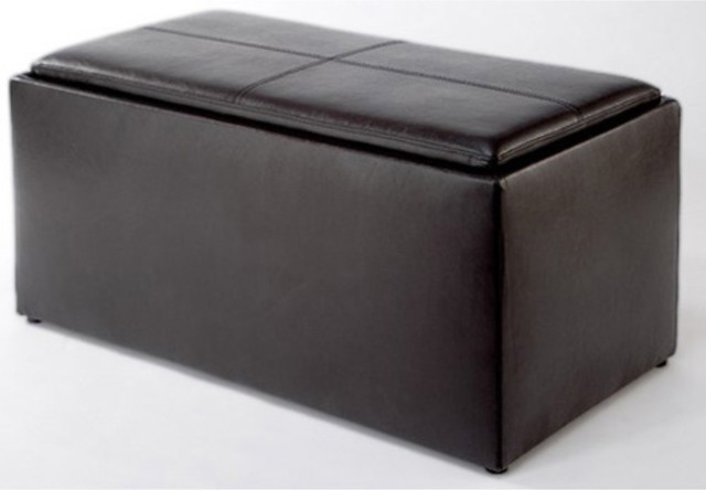 Paris Storage Ottoman Bench with 2 Seat Cubes & Tray Cover traditional-footstools-and-ottomans