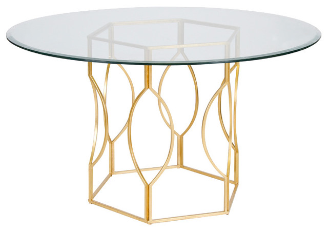 Worlds Away Abigail Gold Leafed Dining Table Base Only contemporary-dining-tables