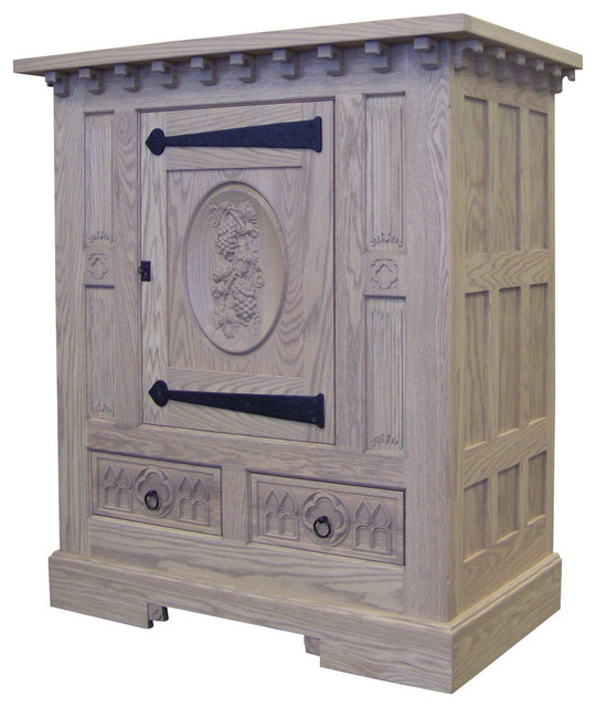 French Gothic Oak Wine Cabinet Antique Look - Eclectic - Wine And Bar Cabinets - by Palmer Union ...