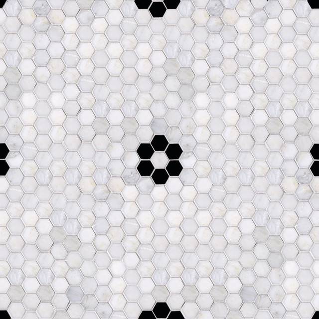 parramore 3cm hexagon with flower mosaic eclectic tile