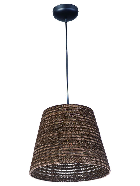 Maxim Lighting - Java Pendant - Java Pendant features the raw beauty of recycled and repurposed cardboard in alternating opaque and translucent layers in a Black finish. Available in small and large sizes. One 60 watt 120 volt A19 type Medium base incandescent bulb is required, but not included.  UL listed. Small: 13.75 inch width x 10.75 inch height x 130.75 inch maximum length. Large: 17.25 inch width x 14 inch height x 134 inch maximum length.