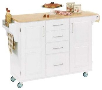 Home Styles Large Create-a-Cart in White with Natural Wood Top 9100-1021 contemporary-kitchen-islands-and-kitchen-carts