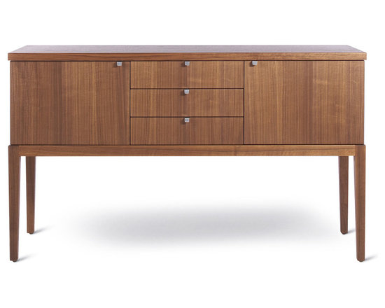Nemo Sideboard - The Nemo sideboard is designed by Sherwood Hamill, co-founder of angela adams, and is handcrafted in Portland, Maine. Shown here in Walnut.