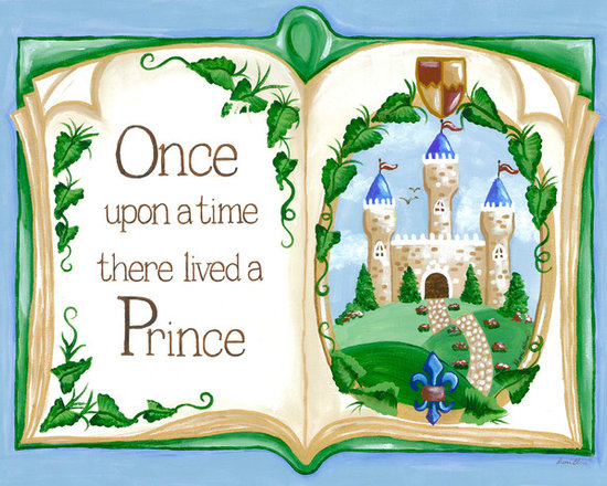 """Oopsy Daisy / Sherri Blum - Prince Wall Decor,  Royal Art for Kids, Once Upon a Time Storybook - Storybook Once Upon a Time prince nursery wall art decor by Sherri Blum of Jack and Jill Interiors. Measuring 24""""x18"""", this giclee canvas reproduction is made in the USA of the finest materials. Our prince decor is the finishing touch for your little royal prince room, prince theme nursery and will be an heirloom to enjoy for generations in any fairytale room."""