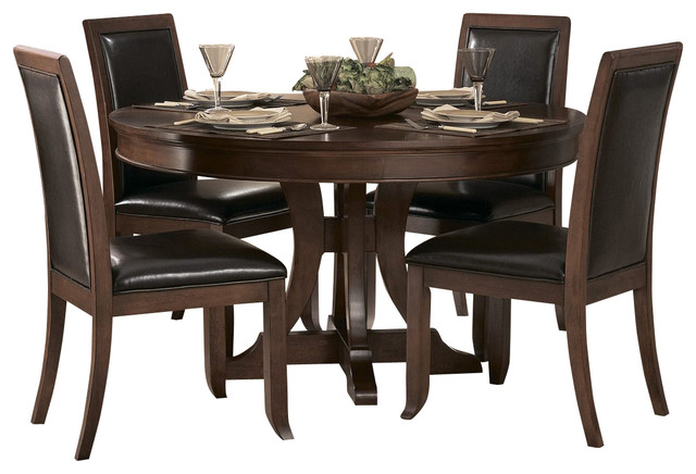 piece round pedestal dining room set in cherry traditional dining sets