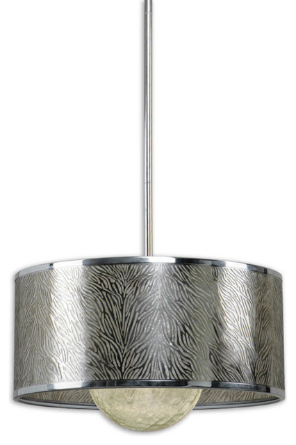 Uttermost Kenza 1 Lt Pendant w/ Antiqued Silver Metal Shade contemporary-pendant-lighting