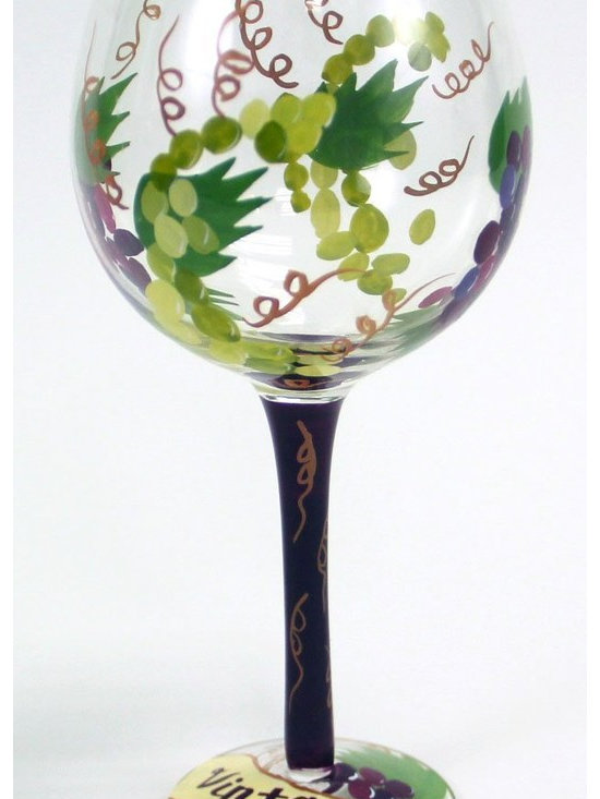 Hand Painted Vintage Wine Glass with Grapes, 18 Oz - Hand Painted Wine Glass with Grapes come in three different styles (we ship randomly picked styles).