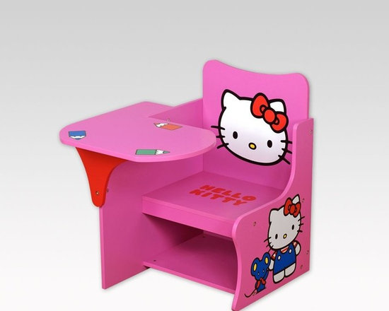 Kids Furniture - Play and study with Hello Kitty! The Hello Kitty Study Writing Desk features an ample, fitted desktop, a comfy chair, and a cubby under the attached chair. Convenient and easy-to-assemble, the work space allows for arts and crafts, puzzles, and anything your child can imagine.