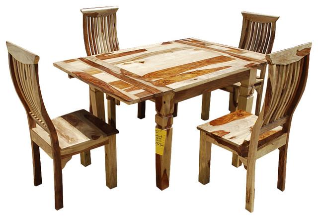 Dallas Ranch 5pc Square Dinette Table Chair Set w Extensions Farmhouse Di
